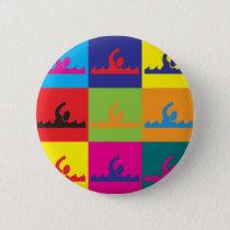 Swimming Pop Art Pinback Button