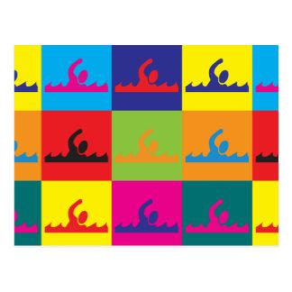 Swimming Pop Art Post Card