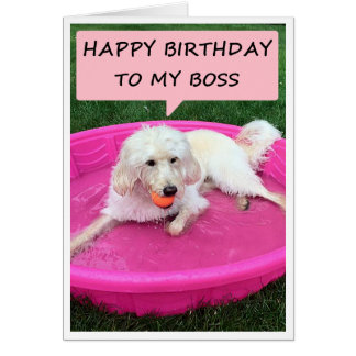 SWIMMING PUP LOVES WORKING FOR BOSS=BIRTHDAY CARD