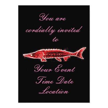 Beach Themed swimming red sturgeon card