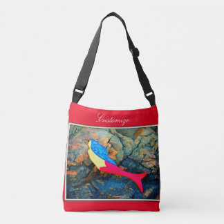 swimming red-tailed mermaid red crossbody bag