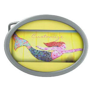 swimming redhead mosaic mermaid Thunder_Cove Belt Buckle