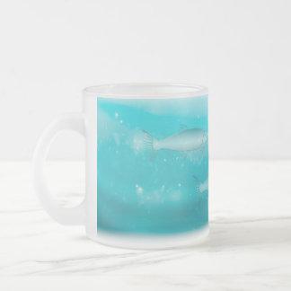 Swimming Salmon Frosted Glass Coffee Mug
