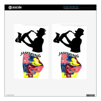 Swimming Saxophone Jamming Decals For Kindle Fire