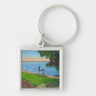 Swimming Scene at Cayuga Lake State Park Silver-Colored Square Keychain
