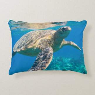 Swimming Sea Turtle Accent Pillow