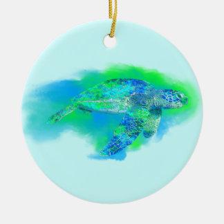Swimming Sea Turtle Ceramic Ornament