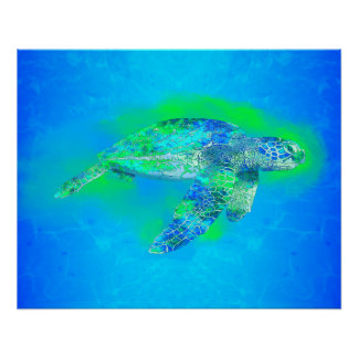 Swimming Sea Turtle Poster
