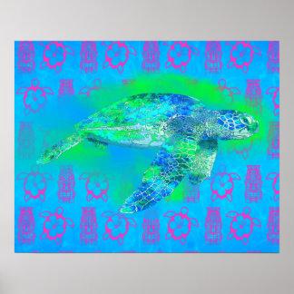 Swimming Sea Turtle Poster