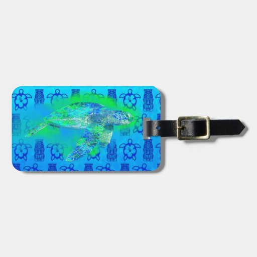 Swimming Sea Turtle Tags For Bags