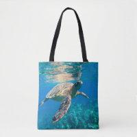 Swimming Sea Turtle Tote Bag