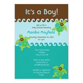 Swimming Sea Turtles Baby Shower Invitation Blue