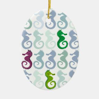 Swimming Seahorse Pattern Ceramic Ornament