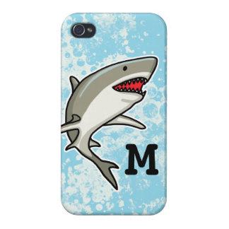 Swimming Shark, Add Child's Monogram iPhone 4/4S Cases