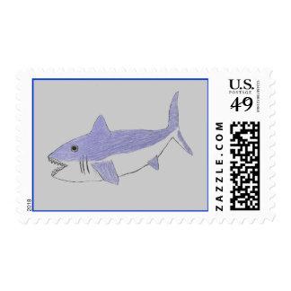 Swimming Shark Design Postage Stamps