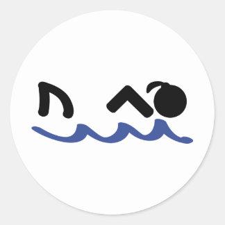 swimming shark girl round stickers