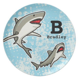 Swimming Sharks Add Child s Name and Monogram Party Plate