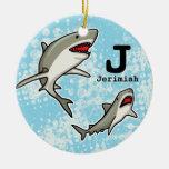 Swimming Sharks, Add Child's Name and Monogram Ceramic Ornament