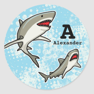 Swimming Sharks, Add Child's Name and Monogram Classic Round Sticker