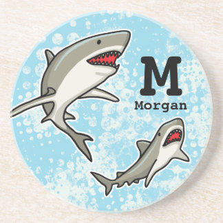 Swimming Sharks, Add Child's Name and Monogram Coaster