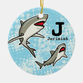 Swimming Sharks, Add Child's Name and Monogram Double-Sided Ceramic Round Christmas Ornament