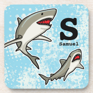 Swimming Sharks, Add Child's Name and Monogram Drink Coaster