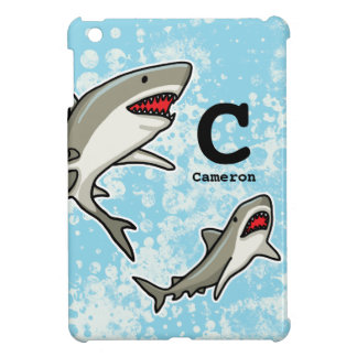 Swimming Sharks, Add Child's Name and Monogram iPad Mini Covers