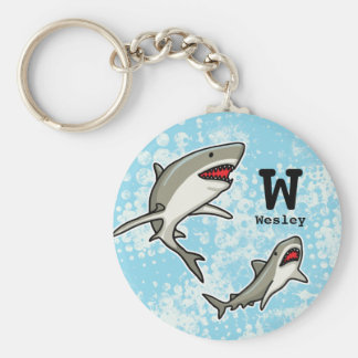 Swimming Sharks, Add Child's Name and Monogram Keychain