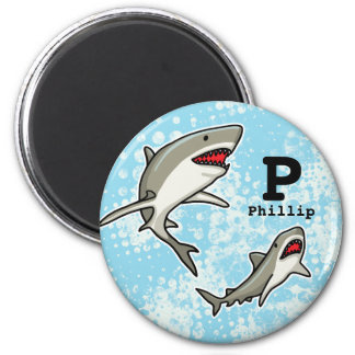 Swimming Sharks, Add Child's Name and Monogram Magnet