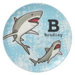 Swimming Sharks, Add Child's Name and Monogram Melamine Plate