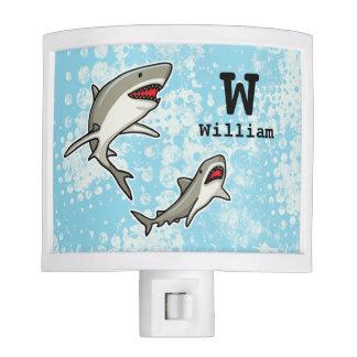 Swimming Sharks, Add Child's Name and Monogram Night Light