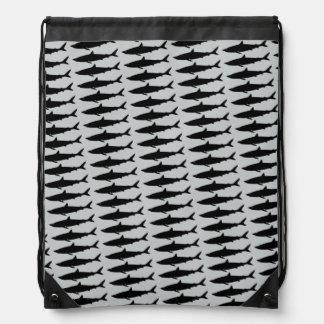 swimming sharks pattern drawstring bag