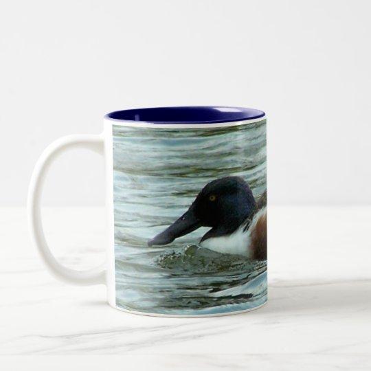 Swimming Shoveler Two-Tone Coffee Mug