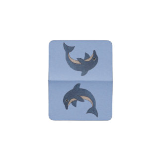 Swimming Sparkling Dark Blue Dolphin on Light Blue Business Card Holder