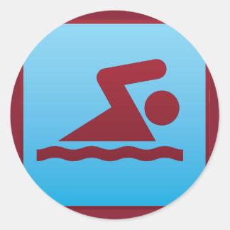 swimming sport classic round sticker