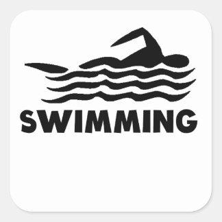 Swimming Square Stickers