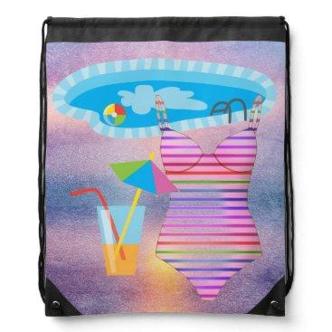 Beach Themed Swimming Summer Fun Purple Abstract Beach Drawstring Bag