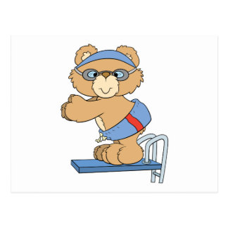 swimming swimmer diving board teddy bear design postcard