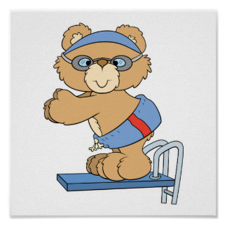 swimming swimmer diving board teddy bear design posters