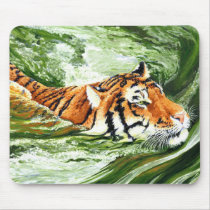 Swimming Tiger Mouse Pad