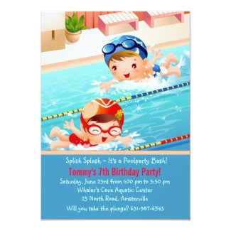 Swimming Tots Pool Party Invitation