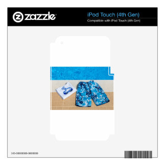 Swimming trunks goggles and towel at pool skin for iPod touch 4G