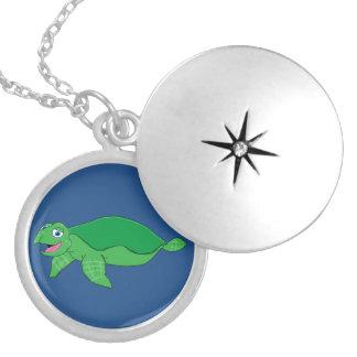 Swimming turtle design matching jewelry set round locket necklace