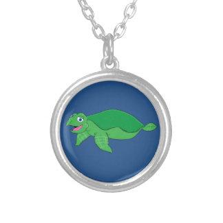 Swimming turtle round pendant necklace