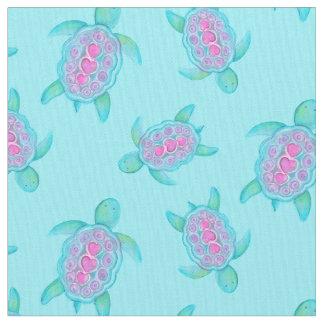 Swimming turtles watercolor art pattern fabric