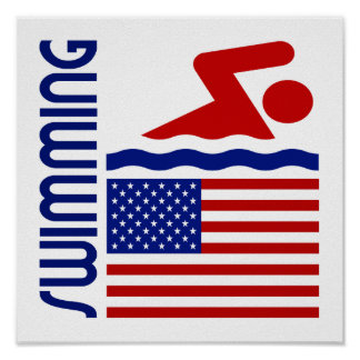 Swimming United States Print