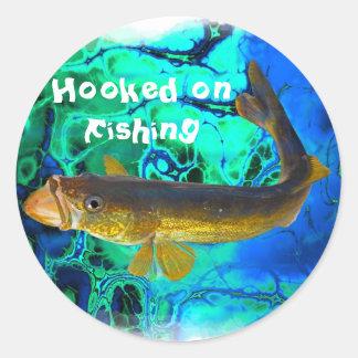 Swimming Walleye, Pickerel Fish Art Classic Round Sticker