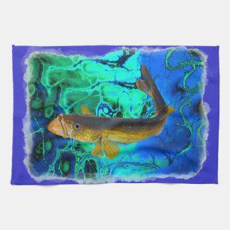Swimming Walleye, Pickerel Fish Art Kitchen Towel