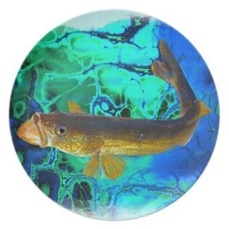 Swimming Walleye, Pickerel Fish Art Melamine Plate