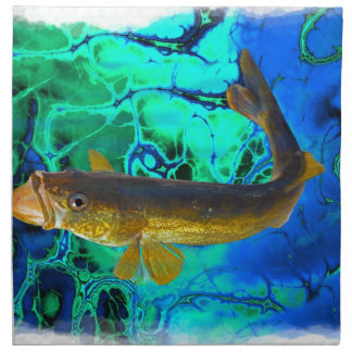 Swimming Walleye, Pickerel Fish Art Napkin